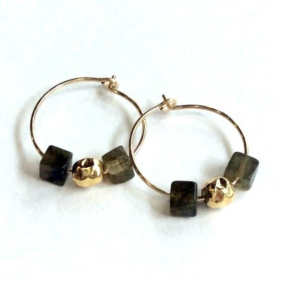 Green earrings, labradorite earrings, hoop earrings,gold filled earrings, stone earrings, small hoop earrings - The two of us E8007