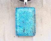 Aqua Necklace, Light Blue, Dichroic Pendant, Glass Jewelry, Fused Glass Jewelry, Necklace Included, A1