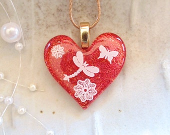 Dichroic Heart Pendant, Glass Jewelry, Red, Dragonfly, Necklace Included, A10