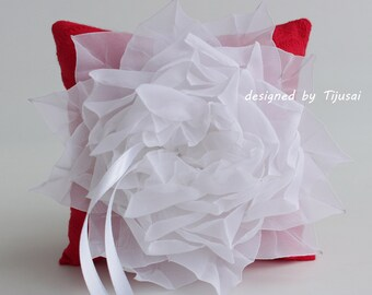 Red Wedding ring bearer pillow with white flower - pillow, wedding ring pillow, wedding pillow