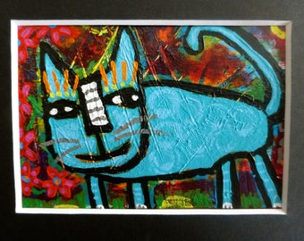 Original ACEO Outsider Raw Folk Naive Painting Blue Cat In The Garden Matted In Black 5x7 Tracey Ann Finley OOAK