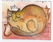 Watercolor Original Art Cat Mom