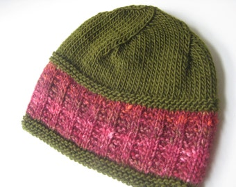 Green and pink knit hat green knit cap womens hat