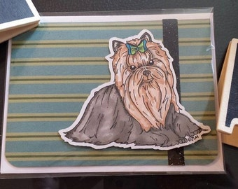 Handmade Card Yorkshire Terrier Yorkie 4 X 5 with envelope stamped colored with Copic markers Rescue Pups