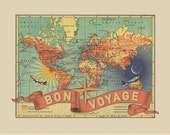 Small Bon Voyage Vintage Map Print