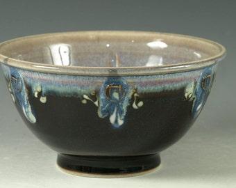 Ceramic bowl ,  tenmoku black and blue