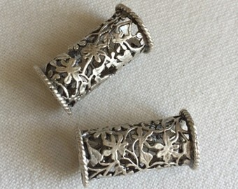 CLEARANCE 2 Large Floral Spacer Tubes, Silver Plated