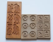 3 vintage cookie wooden molds