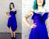 OFFENSIVE BLUE lingerie // lace & pearls // Caberet Dress // burlesque 1970's 1980s // women's size large // sexy // Dita Von Teese // Show