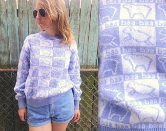 1980's SHEEP SWEATER // baa // periwinkle and white / winona knits minneapolis / cotton knits / size medium large / minnesota / quilt