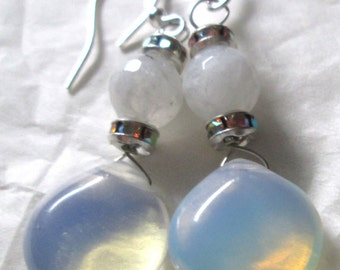 Moonstone Opalite sparkle rhinestone wire wrapped affordable unique pierced dangle hand made earrings by Ziporgiabella