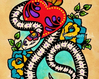 Day of the Dead SNAKE Mexican Folk Art Sacred Heart Tattoo Print 5 x 7, 8 x 10 or 11 x 14