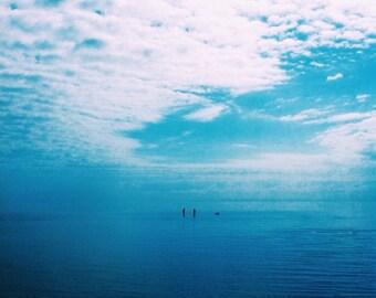 Ocean Photography 5x5 Blue Water, Beach Photo, Blue and White, Nature Photograph, Sandgate Beach Print, Cloud Photo
