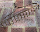Vintage Iron Rake - Hanging Rack - Rustic Decor - Rusty Tools