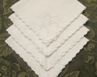 Four Vintage Embroidered Linen Luncheon Napkins