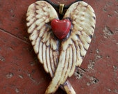 Rustic Red Heart Porcelain Winged Pendant 2