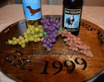 Wine Barrel Sign Personalized Serving Platter Wine Barrel Tray Wine Barrel Decor Wood Serving Tray Ottoman Tray Alternative Guest Book
