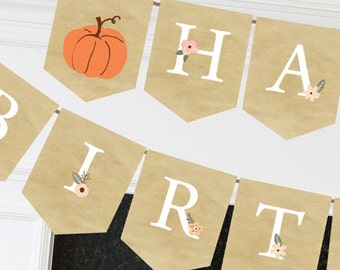 Printable pumpkin Birthday Banner, Pumpkin bunting banner, coral and pink flowers, full alphabet, instant download birthday party banner