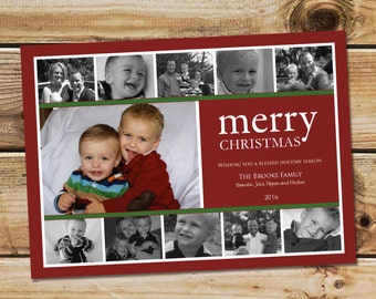 Photo collage Christmas card, collage holiday card, Merry CHristmas, Printable card or printed cards, custom colors