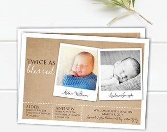 twin birth announcement - girl twin birth announcement - boys twin birth announcement - twin photos