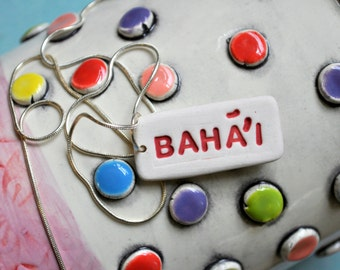 Red and White Porcelain Necklace- Tag Necklace- Baha'i