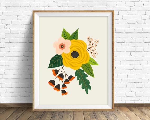 Folk Art Flowers No. 3 - flowers, botanical, art print, large art, large wall art, hand painted flowers, wall art, farmhouse wall art, print