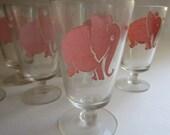 "9 Pink Elephant 1930s Barware 4"" Stem Fluted Glasses Dancing Singing Federal"