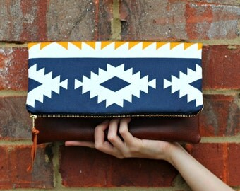 Southwestern Tribal Style Fabric Foldover Clutch