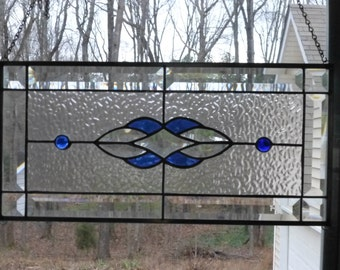 Blue Stained Glass & Beveled Window Transom-Free Shipping!