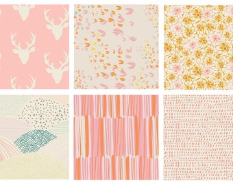 BUNDLE - Hello Bear - Morning Walk - Meadow - Art Gallery Fabrics - Leah Duncan - Bonnie Christine - Pink Orange Deer Antlers
