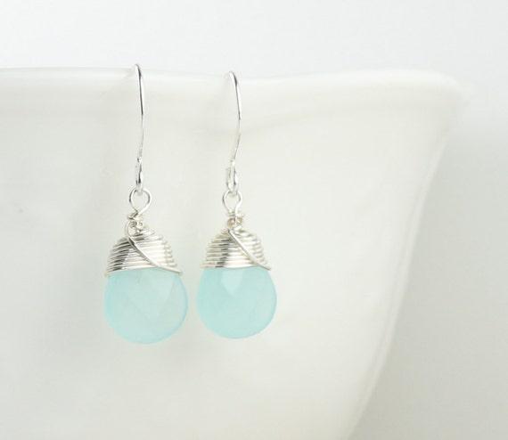 Blue Sea Opal Wire Wrapped Silver Earrings, Blue Silver Earrings, Silver Wire Wrapped Earrings, Blue Sea Opal Sterling Silver Earrings