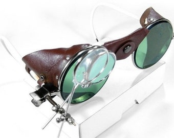 Steampunk Goggles Vintage American Optical Glasses Dark GREEN Tint LEATHER Side Shields Loupes Aviator PRISTINE - Steampunk by edmdesigns