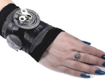 Steampunk Textile Cuff, Wrist Cuff INDUSTRiAL Black LEATHER Clock Key ESCUTCHEoN Glass Button Rocker Biker Cuff - Steampunk by edmdesigns