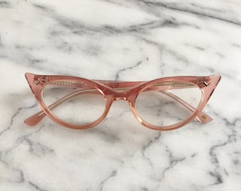 Sweet Translucent Pink Cat Eye Glasses / Frames by Victory Collection.