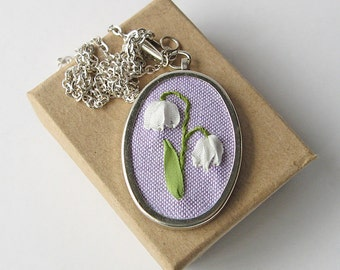 Lily of the Valley necklace, May birthday gift, oval pendant necklace, embroidered silk ribbon jewelry, botanical necklace