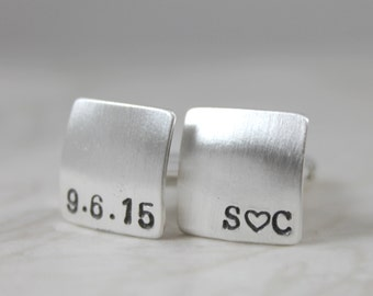 Father's Day, Custom Cufflinks, Mens Personalized Wedding Cufflinks, personalized cuff links, Solid Silver Cufflinks, Initials & Date
