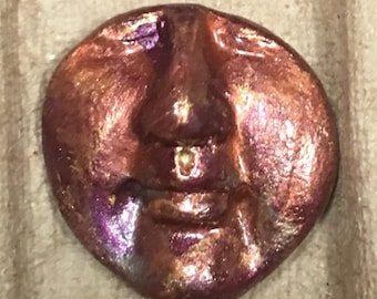 Handmade clay face purple gold  jewelry craft supplies  handmade cabochon   faces   polymer