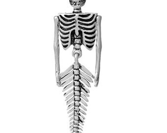 Mermaid skeleton Halloween pendant pirate shipwreck (D5) Antiqued silver mermaid articulated, bendable, moves movable