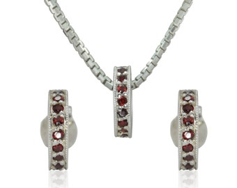 January Birthstone Earrings and Pendant Jewelry Set with Genuine Garnets in 14k White Gold - Perfect Gift for Mom or Grandmother - LS3069