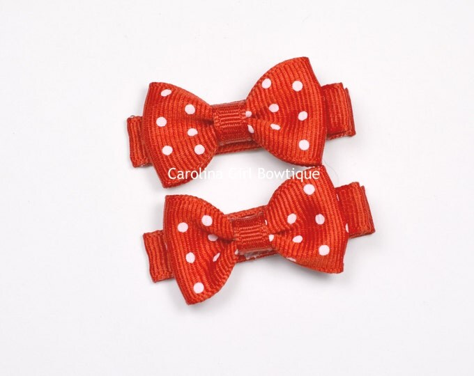 Red Dots Hair Bow Set of 2 Small Hairbows - Girls Hair Bows - Clippies - Baby Hair Bows ~ No Slip Grip always added