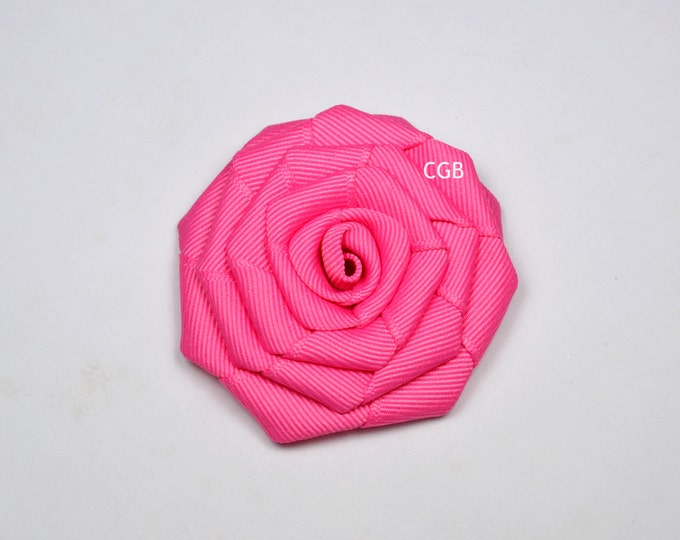 Hot Pink Rosette  Ribbon Flower Hair Clip Basic Alligator Clip Non Slip Barrettes for Babies Toddler Girl