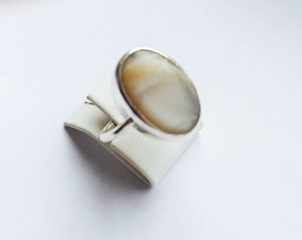 Unique SILVER with Cateye Stones ring