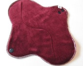 Organic Bamboo Velour Mama Cloth Pad With Wings .. 10 inches Heavy Flow .. Dark Burgundy FREE Shipping