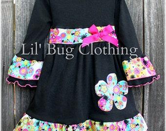 Custom Boutique Girls Funky Flowers Black Knit Winter Dress