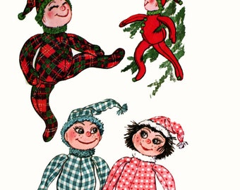 """1960s Vintage Christmas Elf Doll Sewing Pattern UNCUT McCalls 7099 16"""" Holiday Pixie Cloth Doll"""