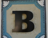 """Personalized Wall Plaque with the initial """"B"""" -24x24 Repurposed Ceiling Tin with Metal Initial"""