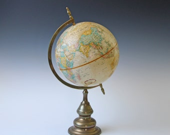 Vintage brown globe with solid brass metal stand