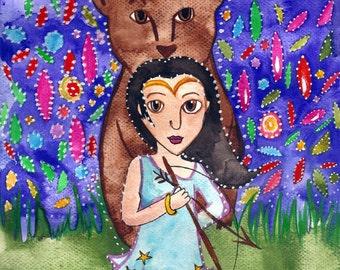 Myth of Callisto Fantasy Art Print 5 x 7 / A5 Greek Mythology Greek Goddess Bear Illustration Hunter Art Print Nursery Art by Niina Niskanen