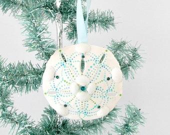 sand dollar ornament,handpainted sand dollar,coastal beach ornament,aqua and white,xmas tree beach ornament,christmas coastal ornament,bling
