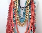 Jewelry Lot 10 Necklaces 8 Earrings 3 Bracelets Vintage Southwestern Turquoise Coral Jewelry Lot SOU *